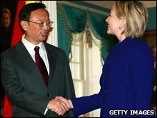 US Secretary of State Hillary Clinton, right, meets Chinese Foreign Minister Yang Jiechi at the state department on Washington on Wednesday