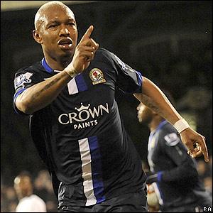 Diouf celebrates his goal