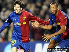 Barcelona scorers Lionel Messi and Thierry Henry