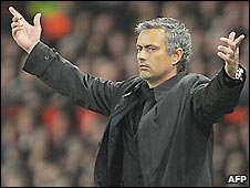 Inter Milan coach Jose Mourinho during his side's 2-0 defeat to Man Utd