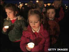 A peace vigil was also held in Craigavon, County Armagh, near the site where Constable Stephen Paul Carroll was shot dead