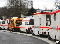 Ambulances outside the school
