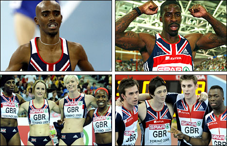 Clockwise from top left: Mo Farah, Dwain Chambers, women's relay team, men's relay team