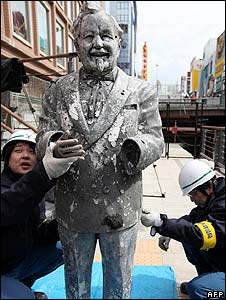 A statue of Colonel Sanders recovered from a river in Japan