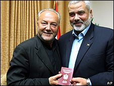 UK member of parliament George Galloway and Hamas leader Ismail Haniyeh