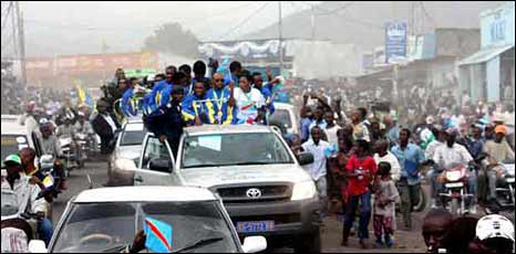 DR Congo team with crowds in Goma