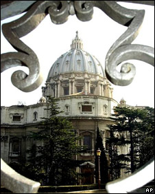view of St. Peters Basilica, framed by the iron balustrade of the Governors building in the Vatican City