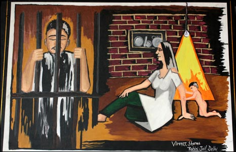 A painting by convicted prisoner Virender Sharma