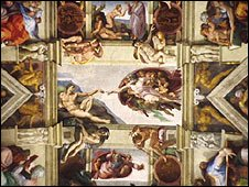 'Creation Of Adam' fresco on the ceiling of the Sistine Chapel
