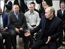 Vladimir Putin speaks to miners in Novokuznetsk (12 March 2009)