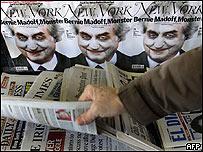 Madoff en la portada de una revista caracterizado como el Guasón