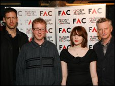 Featured Artists' Coalition committee. Left-right: Ed O'Brien, Dave Rowntree, Kate Nash, Billy Bragg