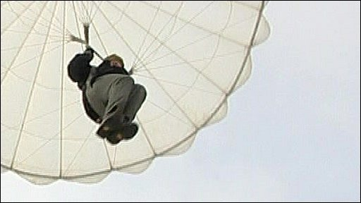 Tim Whewell parachuting