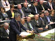 Gordon Brown and ministers in the House of Commons