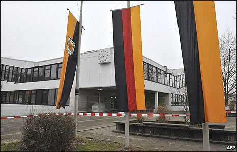 Flags at half mast at Albertville school in Winnenden, Germany