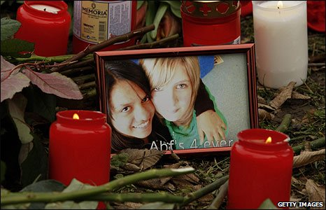 A photograph among tributes at Albertville school in Winnenden, Germany