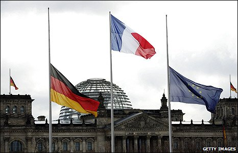 Flags at half mast on the Reichstag in Berlin, Germany