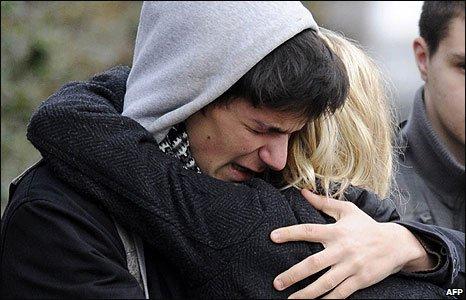 Students crying outside Albertville school in Winnenden, Germany