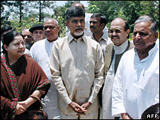Regional party leaders J Jayalalitha (l),  Chandrababu Naidu (c) and Mulayam Singh Yadav (r), June 2007