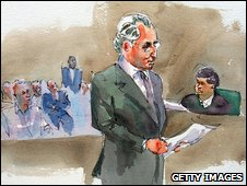 Artist impression of Madoff giving his testimony