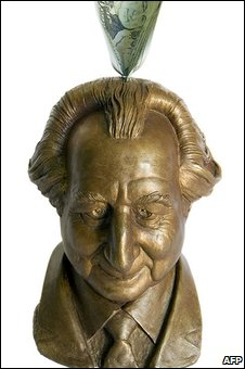 A Bernie Madoff piggy bank created by sculptor Palmer Murphy