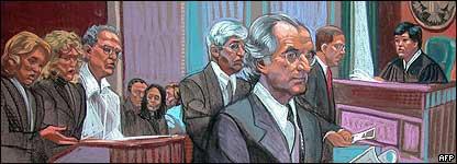 Esbozo art�stico de la audiencia de Bernard Madoff ante el Tribunal Federal de Distrito de Nueva York