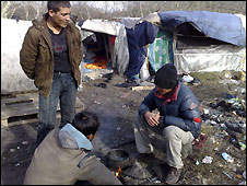 "Afghan migrants in ""the Jungle"" - their camp in Calais"