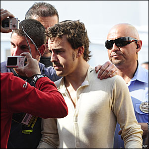 Fernando Alonso in the paddock at Barcelona's Circuit de Catalunya