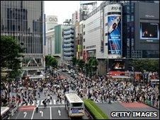 Pedestrians crossing the street in Tokyo