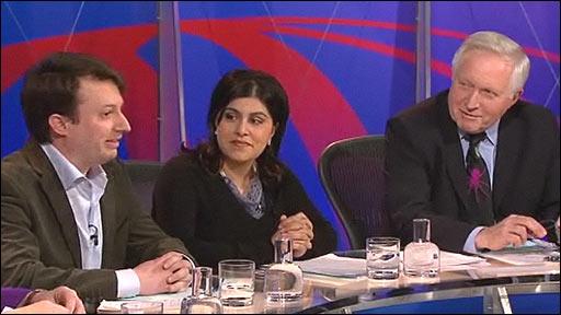 David Mitchell, Baroness Warsi, David Dimbleby