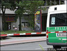 Crime scene outside Da Bruno restaurant in Duisburg, Germany, 15 Aug 07