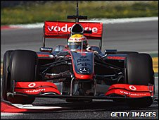 Lewis Hamilton drives the MP4-24 in Barceona
