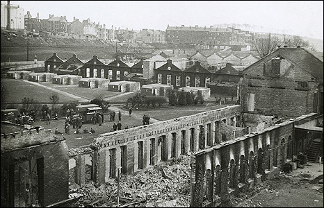 Destroyed buildings at the Singer factory