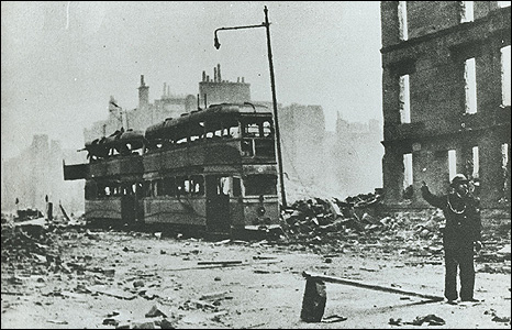 Burned-out trams on Dumbarton Road