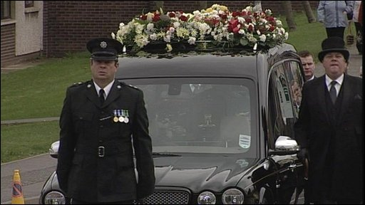 Funeral procession in Banbridge for Stephen Carroll