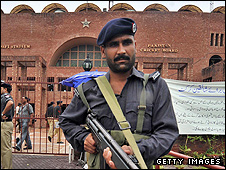 A police officer at the Gaddafi Stadium, Lahore