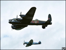 Lancaster bomber and a Spitfire