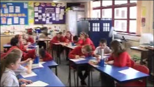 Pupils at Ysgol Pwllcoch in the classroom