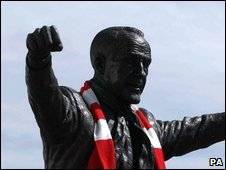 The statue of former Liverpool manager Bill Shankley outside Anfield stadium in Liverpool