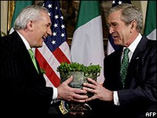 Bertie Ahern hands shamrock to George Bush