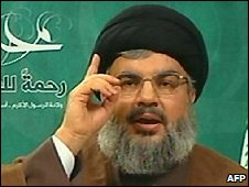 Hassan Nasrallah in video grab from Hezbollah-run al-Manar TV - 13/3/2009