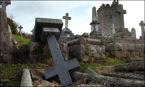 One of the vandalised gravestones at St Trillo's Church, Rhos-on-Sea (Picture: Daily Post)