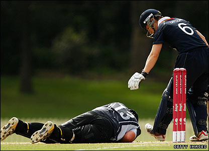 Claire Taylor is concerned for Rachel Priest after the New Zealand wicketkeeper is hit in the face by the ball