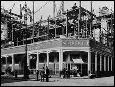 Selfridges under construction in 1909