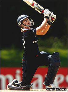 Beth Morgan batting against New Zealand
