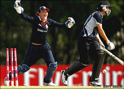 Sarah Taylor celebrates after New Zealand's Sara McGlashan is bowled for a duck by Laura Marsh