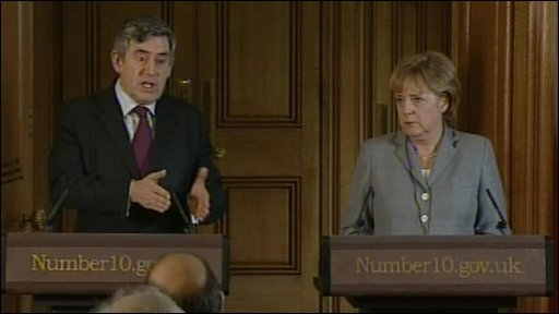Gordon Brown and Angela Merkel