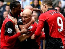 Andy Johnson and Fulham celebrate
