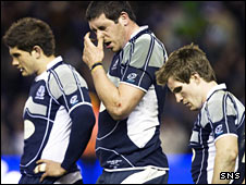 Scotland's players show their disappointment at Murrayfield