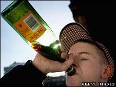 Scot drinking Buckfast